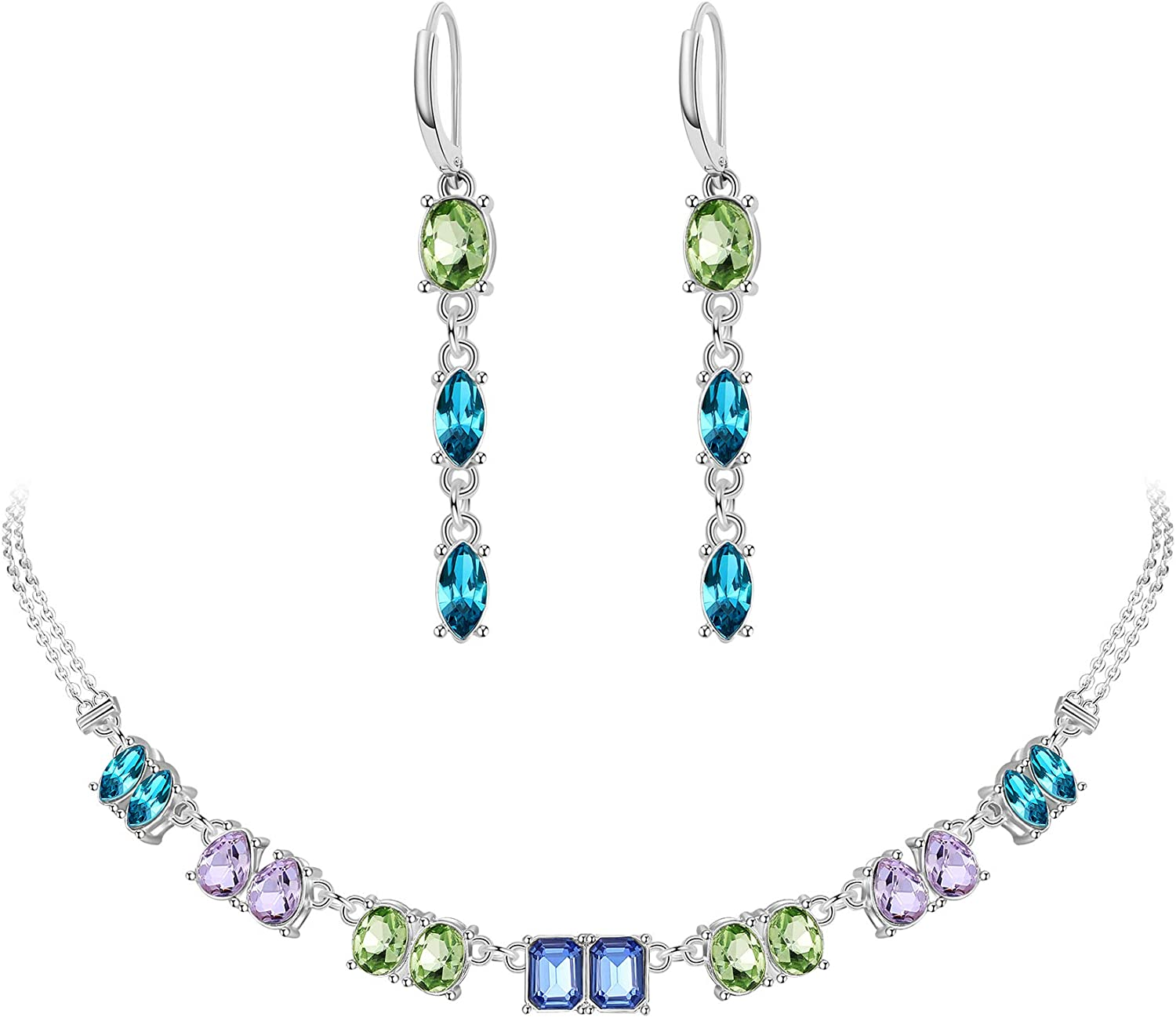 MOOCHI Purple & Blue & Green Crystal Beads Silver Plated Necklace Earrings Jewlery Set