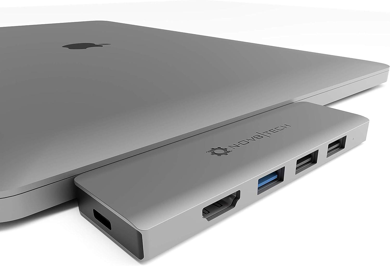NOV8Tech USB C to HDMI Hub Adapter 7-in-2 Dongle for Gray MacBook Pro 2020 M1 2019/2018/2017/2016 & MacBook Air 2020 M1 19/18, SD/Micro SD Reader, Thunderbolt 3 Dock, USB C 100W, USB 3.0, 2X USB 2.0