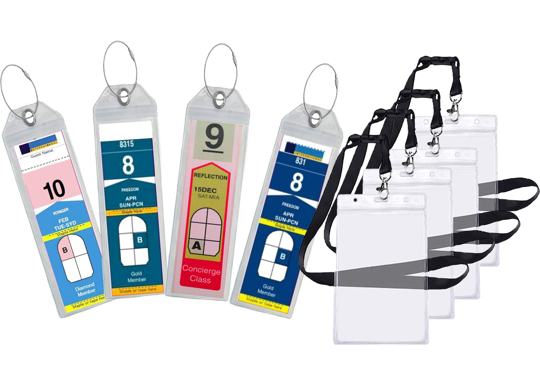 Cruise Luggage Tag Holder Zip Seal & Steel - Royal Caribbean & Celebrity Cruise (8 Pack + 4 ID Holders) by Highwind