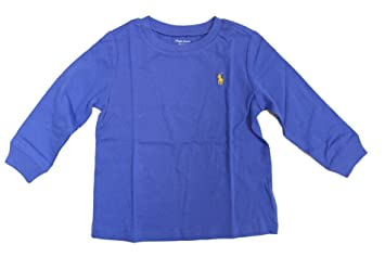 ca639f5f3 Image Unavailable. Image not available for. Color: Ralph Lauren Baby Boy  Long Sleeve Crew Neck Cotton Jersey Shirt Barclay Blue ...