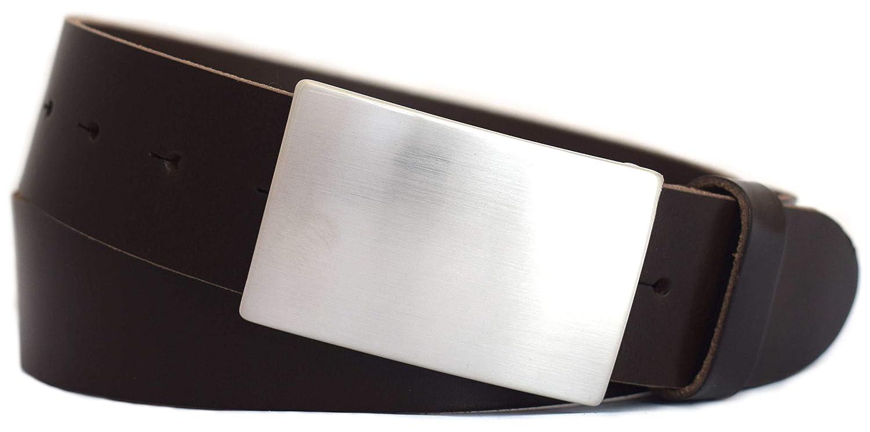 Leder Gürtel Bundweite 105 cm Hochwertiger Herren Ledergürtel schwarz bombiert
