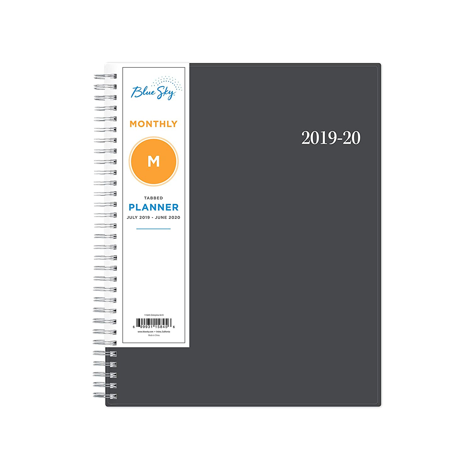 "Blue Sky 2019-2020 Academic Year Monthly Planner, Twin-Wire Binding, 8"" x 10"", Enterprise"