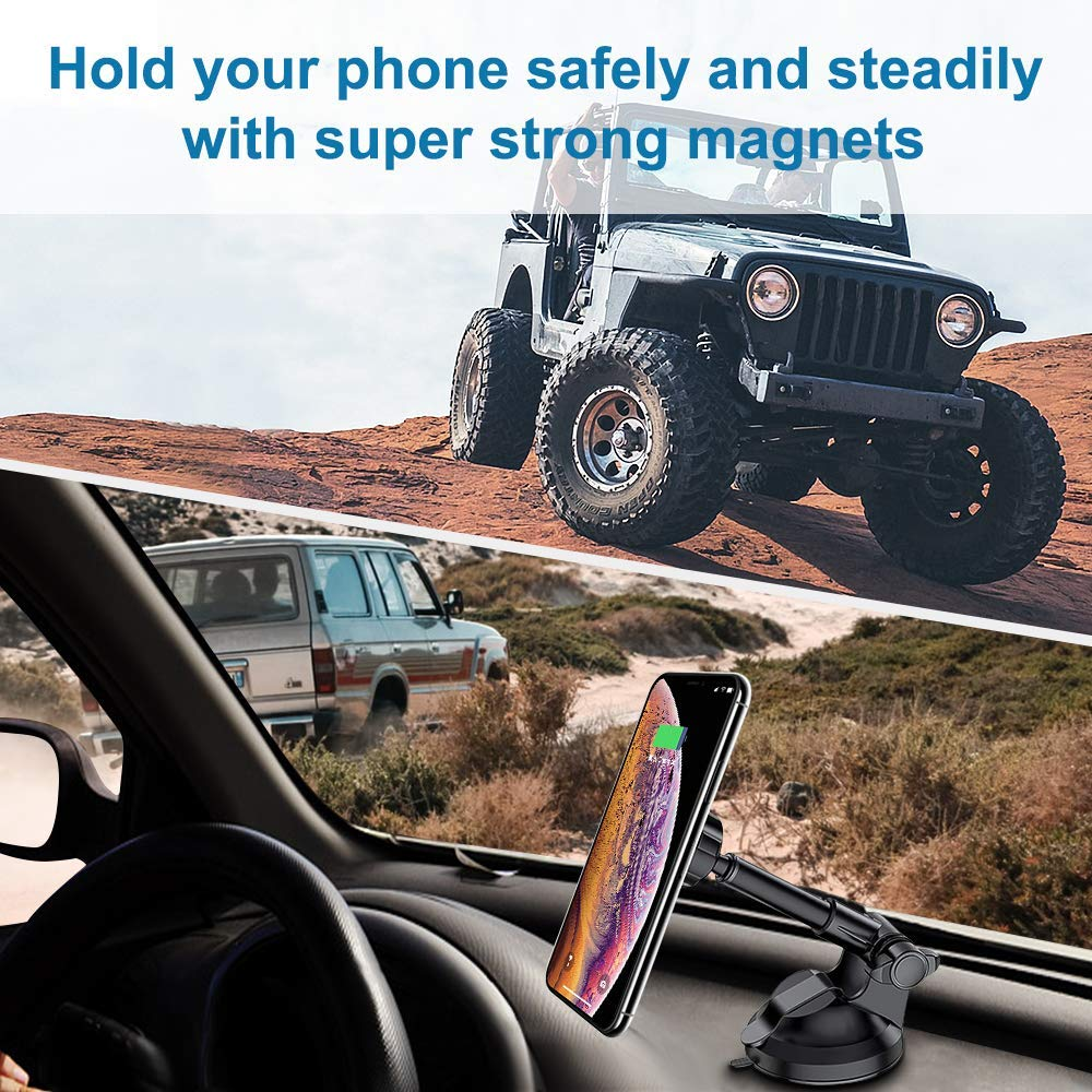 AIRGINE Magnetic Phone Car Mount Holder, Mobile Phone Cradle with 6 Strong Magnets for Dashboard and Windshield,Metal Telescopic Arm for iPhone Xs Max/XR/XS/X/8/7/6/6S, Galaxy S9/S8/S7/Note9/Note8