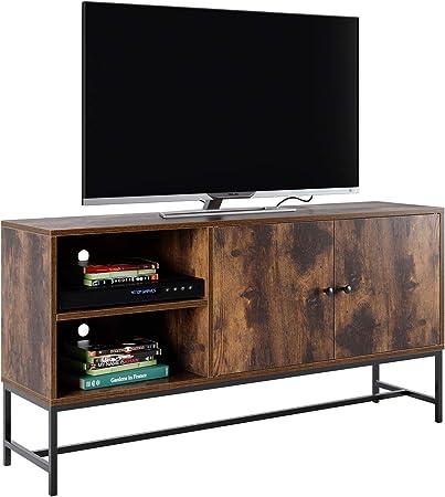Homfa Mueble TV Salón Mesa para TV Armario Salón Mueble Auxiliar Dormitorio con 2 Puertas 4 Compartimientos Vintage Industrial 120x30x60.3cm: Amazon.es: Hogar