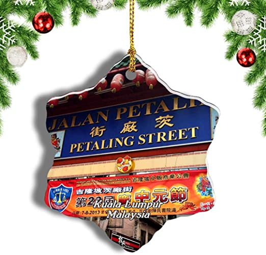 Amazon Com Weekino Malaysia Jalan Petaling Kuala Lumpur Christmas Ornament Travel Souvenir Tree Hanging Pendant Decoration Porcelain 3 Double Sided Home Kitchen