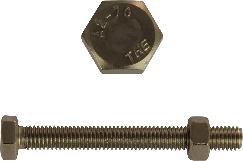 2 St/ück D/´s Items/® DIN 933 // DIN 934 - M6x80 V2A Gewindeschrauben mit Sechskant-Muttern Maschinenschrauben Sechskantschrauben mit Vollgewinde /& Sechskantmuttern Edelstahl A2 -
