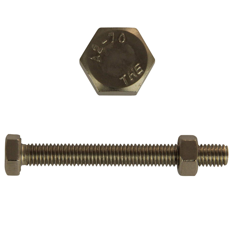 DIN 933 // DIN 934 5 St/ück D/´s Items/® V2A Gewindeschrauben mit Sechskant-Muttern Edelstahl A2 - Maschinenschrauben Sechskantschrauben mit Vollgewinde /& Sechskantmuttern M5x40 -