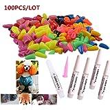 100Pcs Colorful Dog Nail Claw Cap + 5Pcs Adhesive Glue + 5Pcs Applicator Soft Rubber Pet Nail Cover