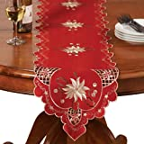 Christmas Embroidered Holiday Linens, Red, Runner