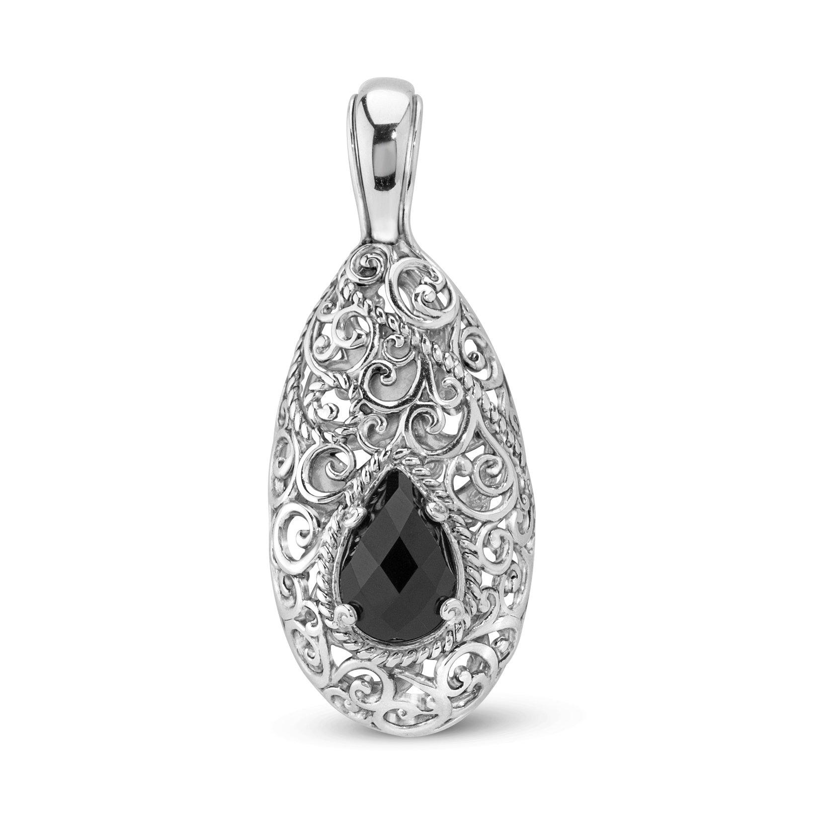 Carolyn Pollack Sterling Silver Onyx Pendant Enhancer by Carolyn Pollack