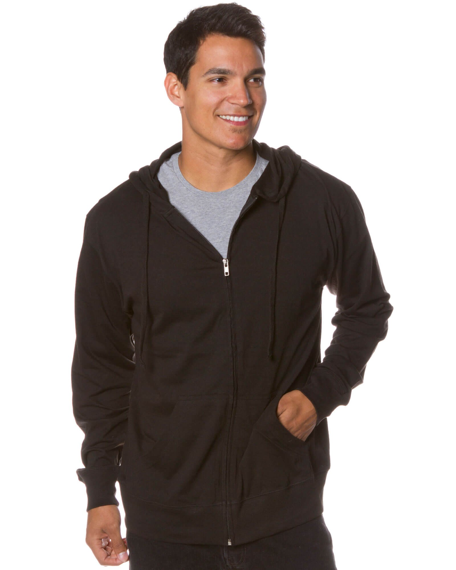 Global Men's Lightweight T-Shirt Jersey Full Zip up Hoodie Sweatshirt M Black