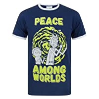 Rick and Morty Peace Among Worlds Men's T-Shirt, Blue, Small