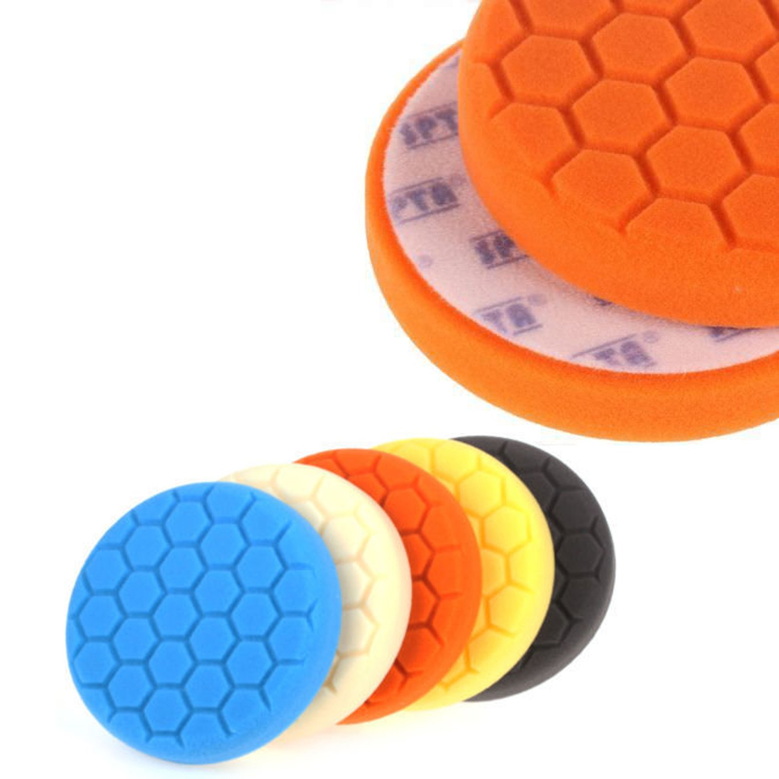 5 pack 6'' Five Color Functions Buffing Pads Sponge Polishing Pad Kit For Car Polisher Finest Foam Durability Suitable for All Models of Vehicles Car
