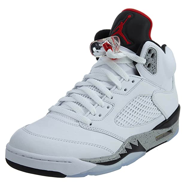 check out 77abc 53f09 Nike Scarpe Alte Uomo Jordan V White Cement BG in Pelle Bianca 136027-104   Amazon.it  Scarpe e borse