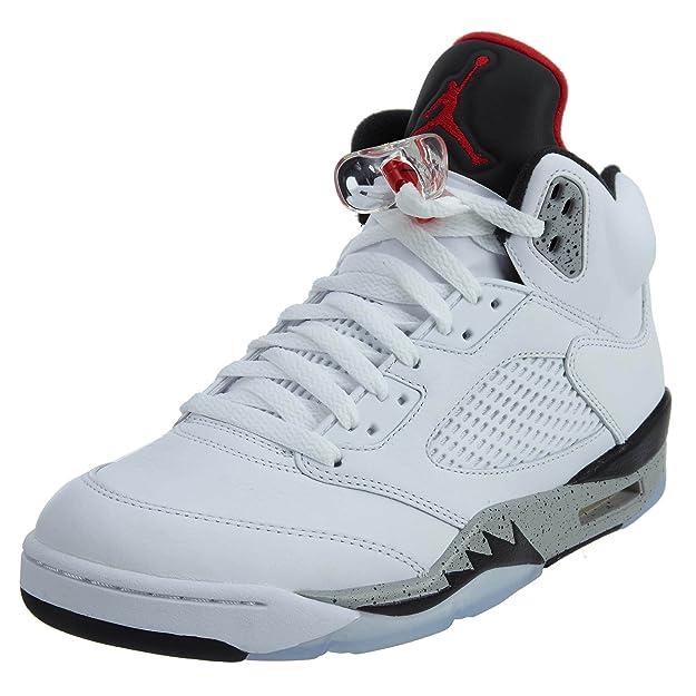 check out 77abc 53f09 Nike Scarpe Alte Uomo Jordan V White Cement BG in Pelle Bianca 136027-104   Amazon.it  Scarpe e borse