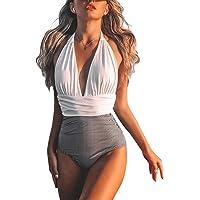 BUOYDM Trajes de una Pieza Mujeres Cintura Alta Rayas Cuello en V de Baño Trajes Bañador Conjunto de Bikini Push up