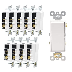 AIDA 15 Amp 120/277V 4-Way Light Switch Self-grounding Indoor Electrical ON/Off Wall Paddle Rocker Quiet Decora Four Way Snap Switches, Residential Grade, UL Listed, Side & Back Wired, 10 Pack, White