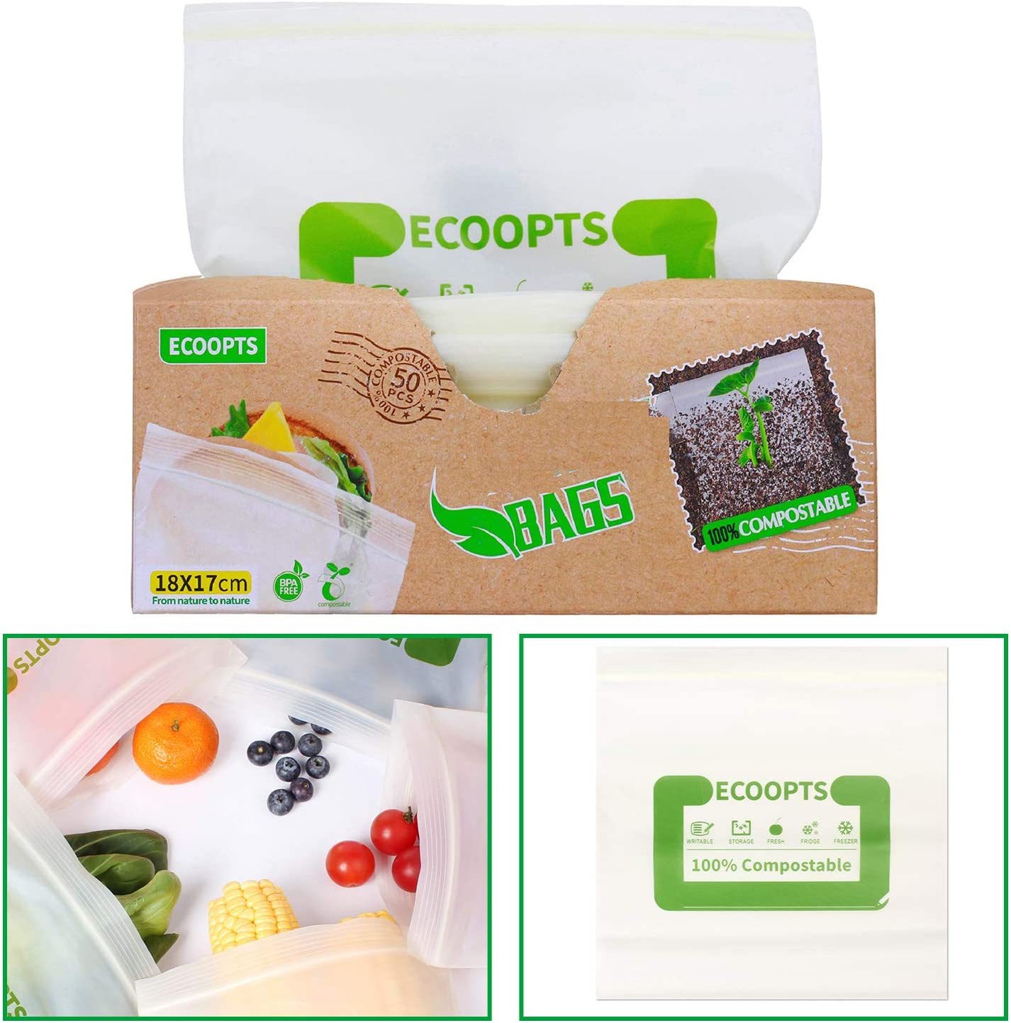 50 Count ECOOPTS 100% Compostable Freezer Bags Reusable Food Storage Sandwich Bags For Food Organization and Storage - (7×6.7 IN/Count)
