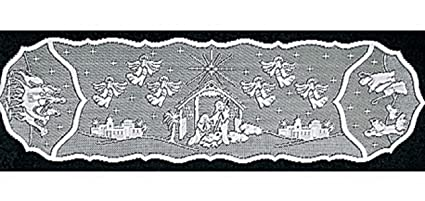 Heritage Lace Nativity White 14u0026quot; X 54u0026quot; Lace Table Runner