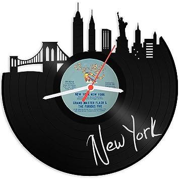 GRAVURZEILE Skyline New York Wanduhr Aus Vinyl Schallplattenuhr Vinyl Uhr  Upcycling Design Uhr Wand