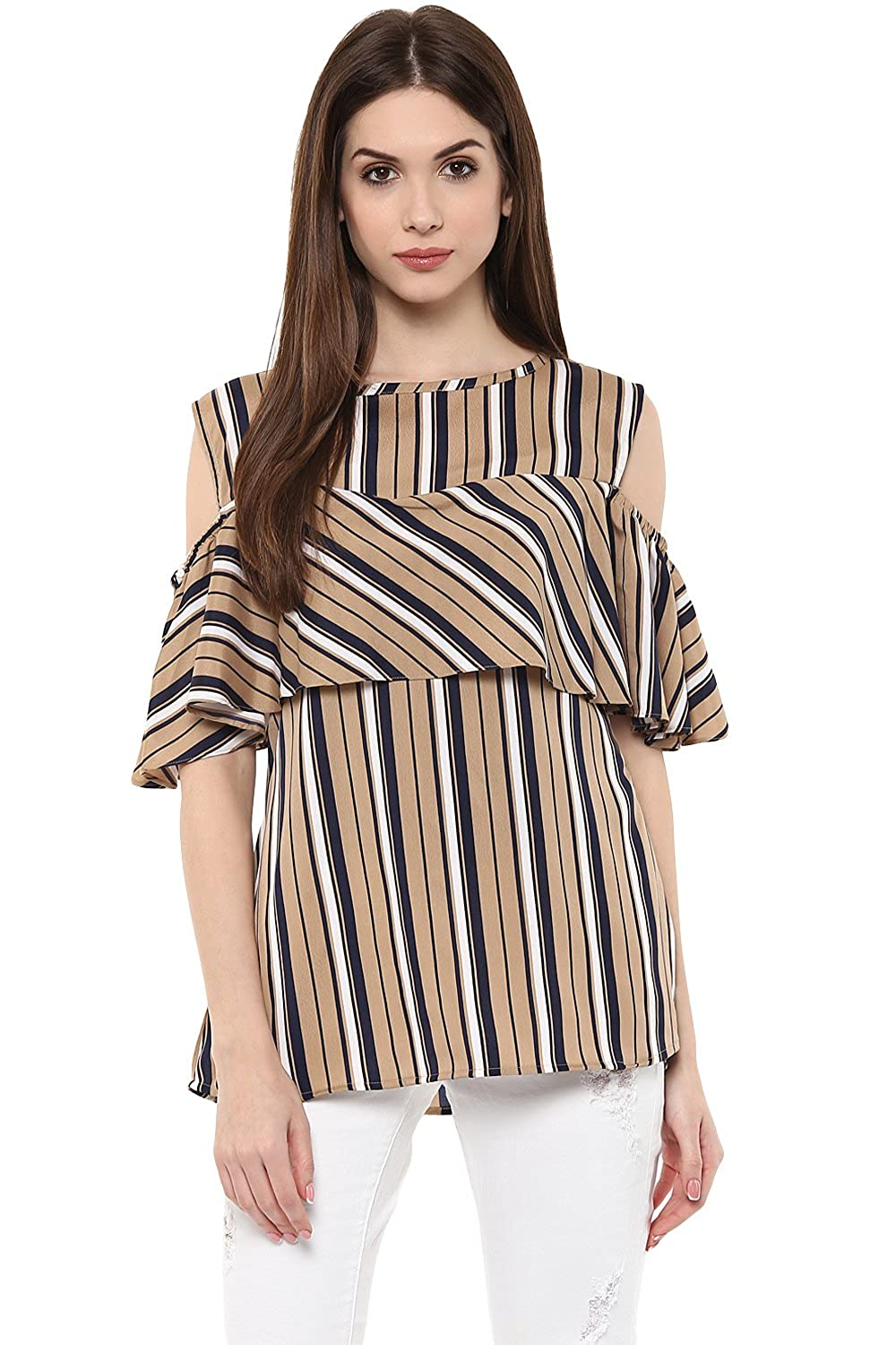 df060c507e2e8 Ahalyaa Brown Color Cold Shoulder And Boat Neck Top  Amazon.in  Clothing    Accessories