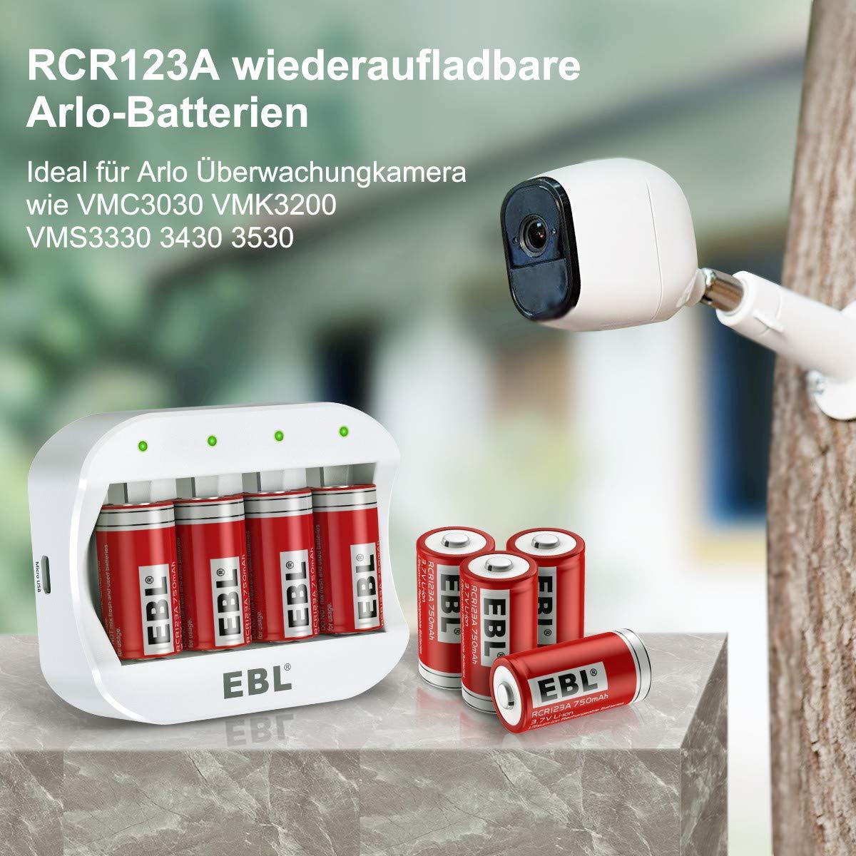 EBL RCR123A Ladegerät mit RCR123A Akku für Arlo Kamera 3.7V wiederaufladbare Li-Ionen Batterien 8 Stück (VMC3030/VMK3200/VMS3330/3430/3530)