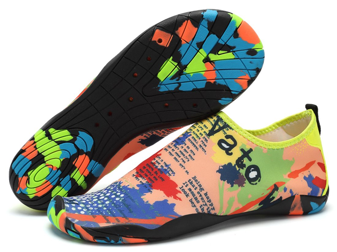 Sanyge Breathable Mens Womens Water Shoes Beach Swim Shoes Quick-Dry Aqua Socks Pool Shoes for Surf Yoga Exercise(0688Colormap42)