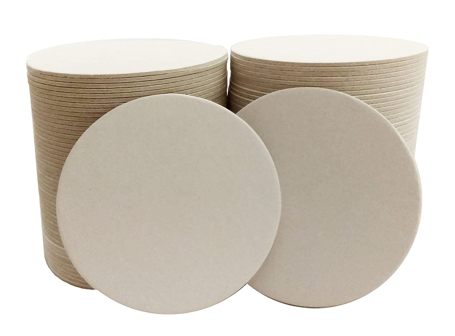 Inkfish and Co. ?100 Pack 3.5 Inch Round Blank Coasters Off White Color Heavyweight Cardboard Pulp Board Paper Made in USA Perfect For All Drinks DIY Craft Projects Printing Mini Art Zen Boards