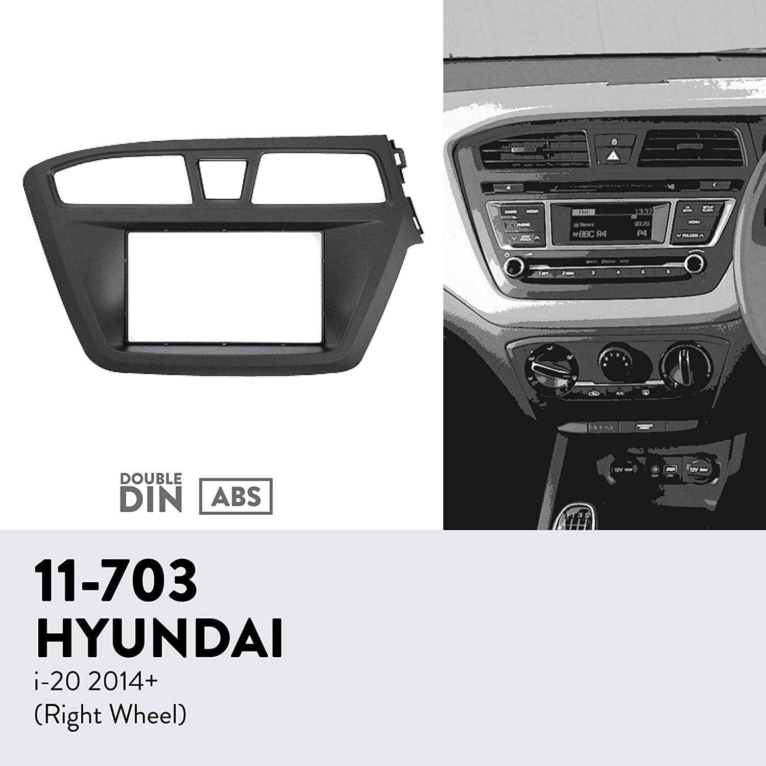 UGAR 11-703 Trim Fascia Car Radio Installation Mounting Kit for Hyundai i-20 2014+