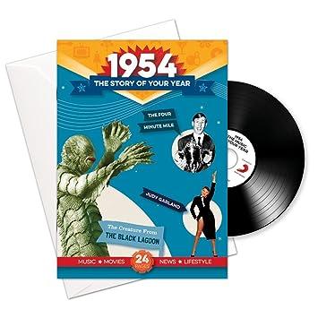 1954 cumpleaños o aniversario regalos - 1954 4-en-1 tarjeta y regalo - Historia de su Año, CD, Music Download - 15 Gráfico originales Canciones - ...