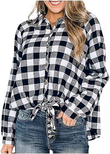 VJGOAL Blusa para Mujer Solapa clásica Botones de Manga Larga a Cuadros en Blanco y Negro Tops Camisas Sueltas Casuales: Amazon.es: Ropa y accesorios