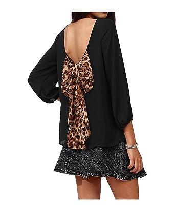 Losorn Ladies Big Bowknot Backless Blouse Clothing Blusas Chiffon (S, Black)
