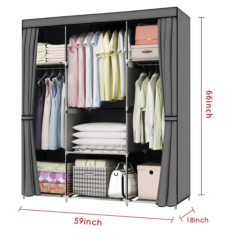 Amazon Com Youud 59 Wardrobe Storage Closet Clothes Portable