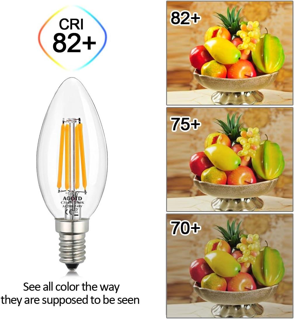 AGOTD E14 LED Lampe Birne warmweiß Kerze 4W, 40W C35 Klare