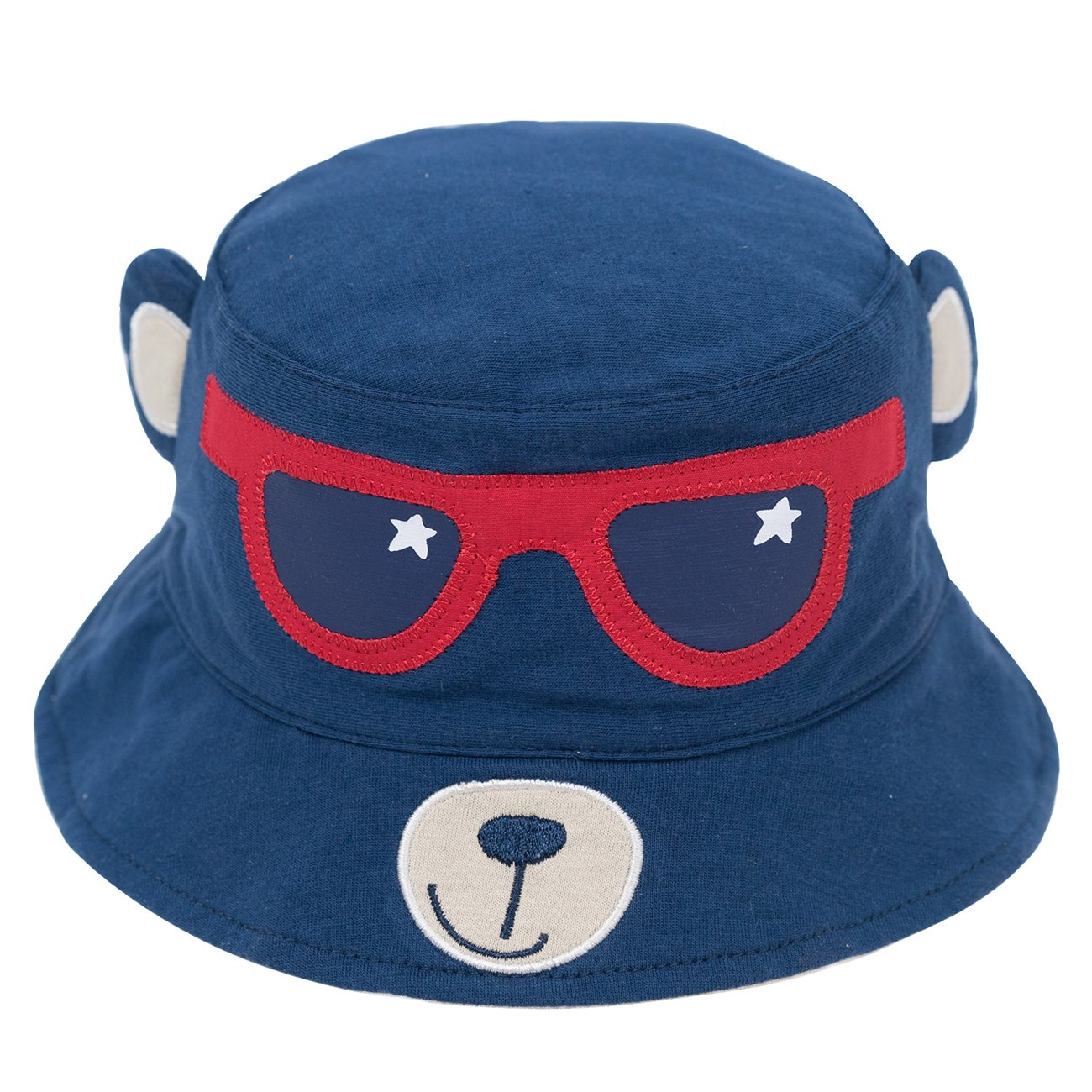 Eriso Baby Toddler Kids Breathable Sun Hat Animal Bucket, Stay-On ((19.6'') 12-24 Months, Navy Bear)
