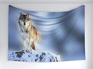 """Ambesonne Wolf Tapestry, Carnivore Animal in Snow Mountains Blurred Background Alpine Canine Nature Photograph, Fabric Wall Hanging Decor for Bedroom Living Room Dorm, 90"""" X 60"""", Bluegrey Grey"""