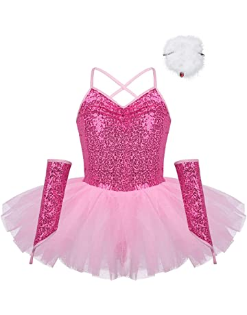 Tutu Leotard Elegante Tuta Dancewear Paillettes Glitter 4-12 Anni iEFiEL Ragazza Vestito da Balletto Bambina Abiti da Danza Body del Ventre 2 Pezzi Set da Ginnastica Top