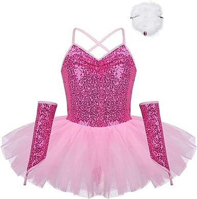 Agoky Disfraz Bailarina Niña Lentejuelas Fiesta Vestido de Danza ...