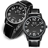 Leather Pair Couples Watches Easy Reader Quartz Analog 30M Water Resistance for Men and Women Wrist