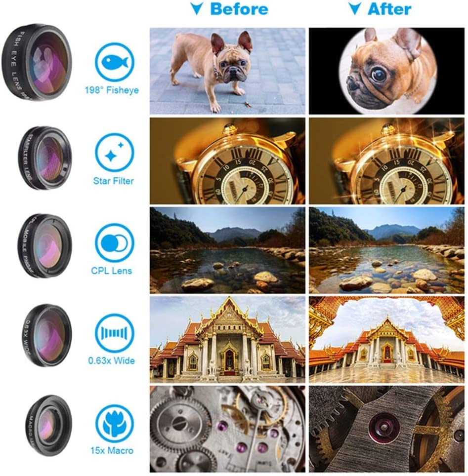 GWX Mobile Phone Lens Mobile Phone Telephoto Lens 16X Telephoto Fisheye Wide-Angle Macro Starlight CPL 6-in-1 with Tripod for All Kinds of Smart Phones