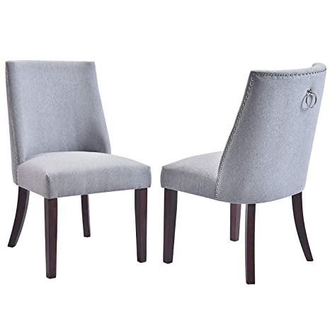 FLIEKS Kitchen Dining Chairs Set of 2 Fabric Upholstered Dining Room Chairs  with Solid Wood Legs, Nailhead Trims (Grey)