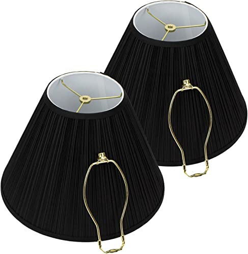FenchelShades.com Set of 2 Lampshades 6.5 Top Diameter x 15 Bottom Diameter x 11 Slant Height with Washer Spider Attachment for Lamps with a Harp Pleated Mushroom Black
