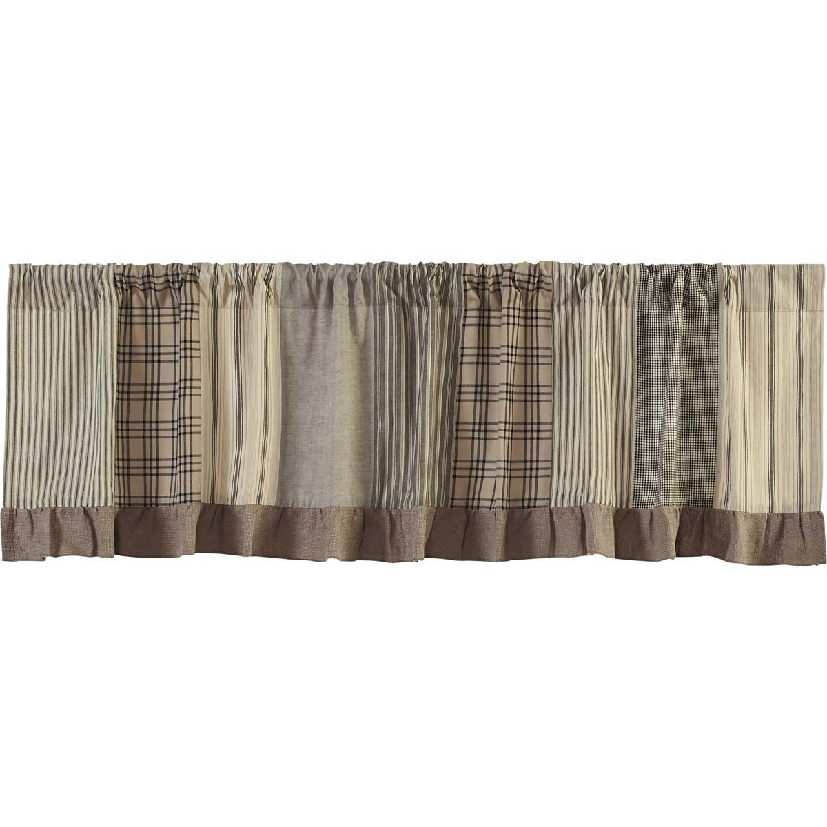 VHC Brands Farmhouse Kitchen Window Curtains - Sawyer Mill Grey Patchwork Valance 19x72 Charcoal