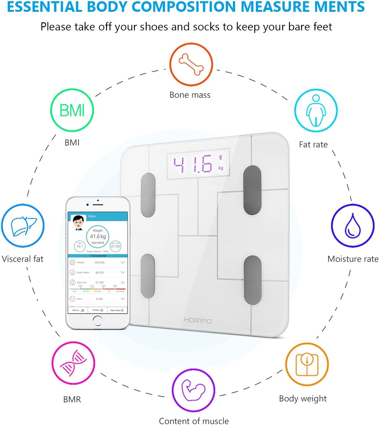 Body Fat Scale, HOMPO Bluetooth Digital Bathroom Smart Wireless Body Fat Analyzer Scale with Smartphone App LED Display, Measures BMI, Body Fat, Muscle Mass, Water Weight, and Bone Mass