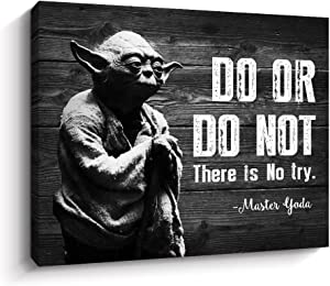 Motivational Wall Art Inspirational Quotes of Master Yoda Vintage Giclee Canvas Wall Art Framed for Home and Office Decor (Black)