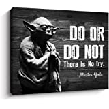 Pigort Motivational Wall Art Inspirational Quotes of Master Yoda Vintage Giclee Canvas Wall Art Framed for Home and Office De