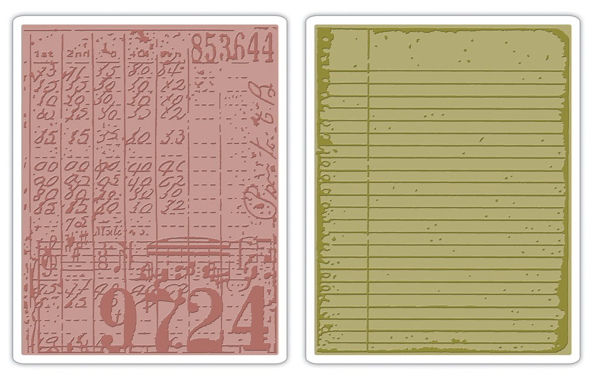 Sizzix 656647 Texture Fades Embossing Folders, Collage & Notebook Set by Tim Holtz, Pack of 2, Multicolor Ellison
