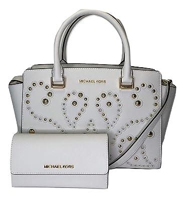 7092713cd02f Amazon.com: MICHAEL Michael Kors Selma MD TZ Satchel bundled with Michael  Kors Jet Set Travel Large Trifold Wallet (Optic White/Gold Limited  Edition): Shoes