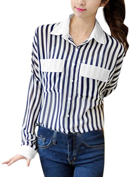 36e1335feac6c Lady Manga Larga Semi Sheer Camisa de Rayas Verticales Azul Marino Azul  Blanco M  Amazon.es  Ropa y accesorios