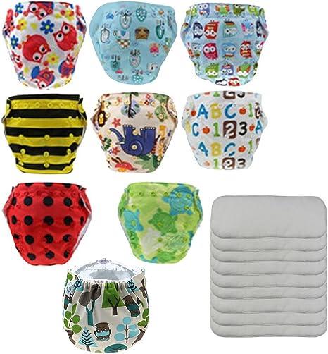 Happy Cherry Pack de 9 Pañales de Tela Reutilizables Lavables + 9 Absorbentes: Amazon.es: Bebé